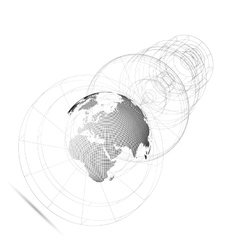 Dotted world globe isolated abstract construction vector image vector image