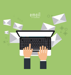 Envelope hand laptop email message mail icon vector