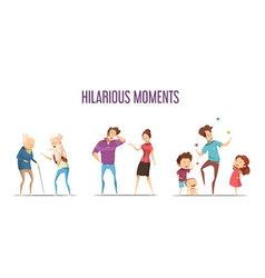 Families Couples Hilarious Moments Cartoon Set vector image vector image