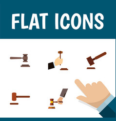 Flat icon lawyer set of law legal crime and vector