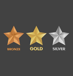 gold silver and bronze star set vector image vector image