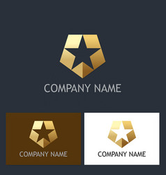 gold star shield company logo vector image vector image