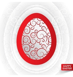 Greeting card with abstract red floral egg vector image