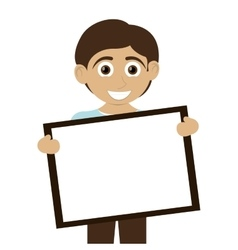 happy boy with tan skin holding board icon vector image vector image