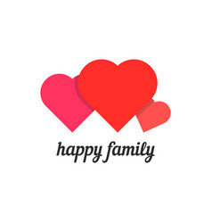 Happy family with three hearts vector