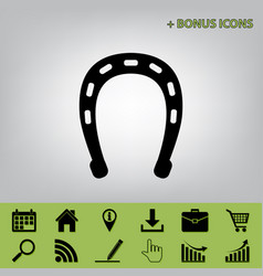 Horseshoe sign black icon at vector