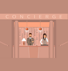 Hotel concierge service front view of concierge vector