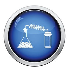 Icon of chemistry reaction with two flask vector