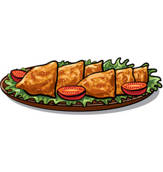 Indian food samosa vector