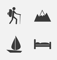 Journey icons set collection of doss boat vector