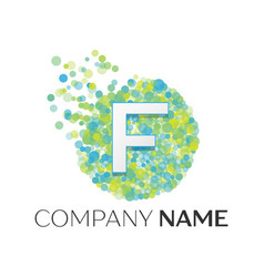 letter f logo blue green yellow particles vector image