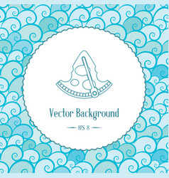 Nautical background with emblem and waves vector