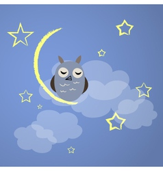 Night owl with yellow moon and stars vector