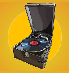 Painted vintage gramophone with the record vector