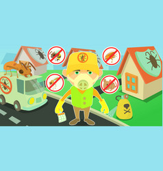 Pest control horizontal banner cartoon style vector
