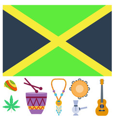 Rastafarian cannabis peace ganja icons set in flat vector