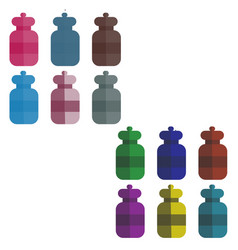 set of multi-colored bottles in the style of flat vector image vector image