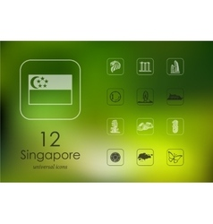 Set of Singapore icons vector image