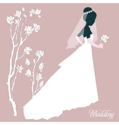 Silhouette Bride With Flowers vector image