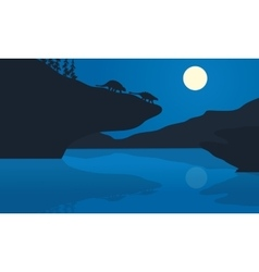 Silhouette of ankylosaurus at the night vector