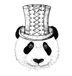 Steampunk panda hat vector