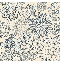 Succulent garden monochrome doodle seamless vector
