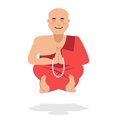 Tibetan monk meditating yoga buddhist tibet novice vector