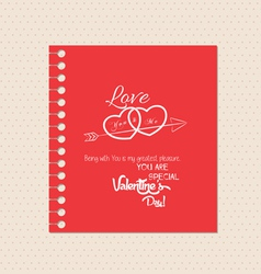 Valentines day greeting card with note vector