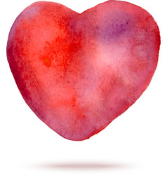 Watercolor hand painted red heart vector