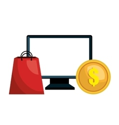 Computer e-commerce buy market isolated vector