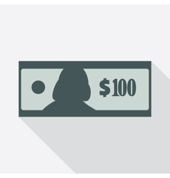 One hundred dollars banknote icon vector