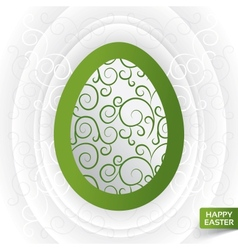 Greeting card with abstract green floral egg vector