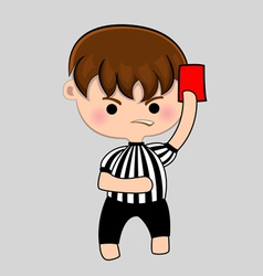 Football referee with red card vector