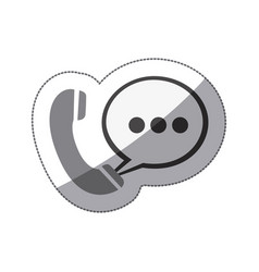 Monochrome silhouette sticker of telephone with vector