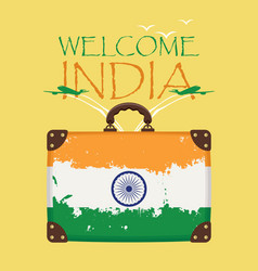 Suitcase with the flag of india and planes vector