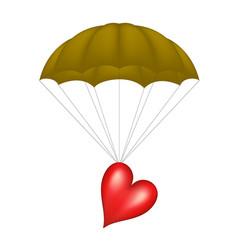 heart at brown parachute vector image