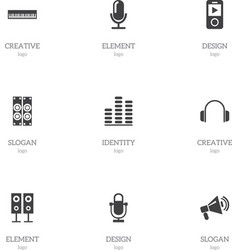 Set of 9 editable multimedia icons includes vector