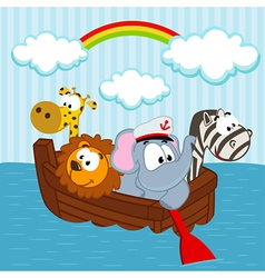 Animals in the boat vector