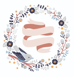 Bird and flowers wreath vector