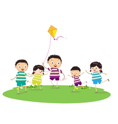 Little children outdoors kites vector