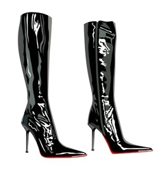 Leather latex bag boots elegant fashion vector