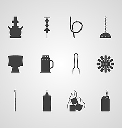 Black icons for hookah accessories vector