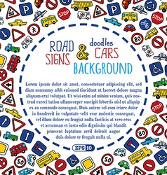 Background of doodles road signs and cars vector