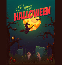 Halloween party poster with witch and moon vector