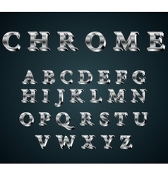 Chrome 3d alphabet vector