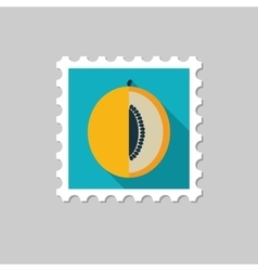 Melon flat stamp with long shadow vector