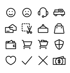 Crisp shopping icons vector