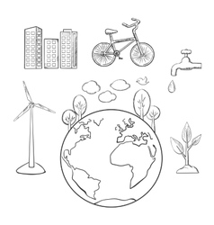 Environment green energy and ecology sketches vector