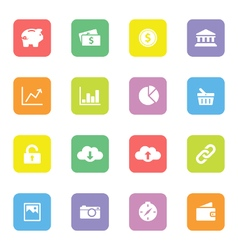 Colorful simple flat icon set 4 on rounded rectang vector image