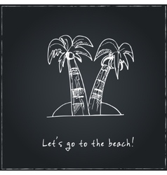 Lets go to the beach motivational travel poster vector